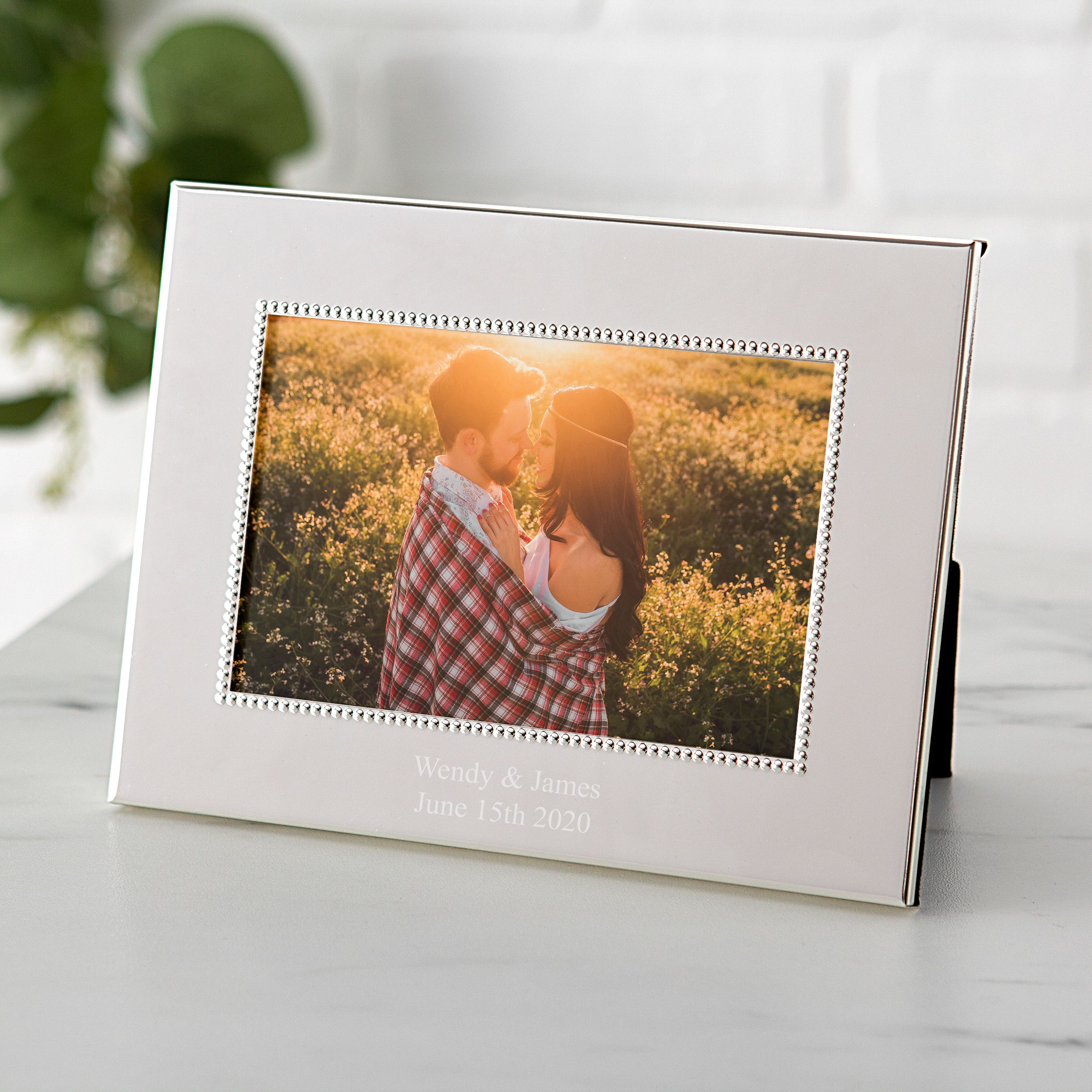 Personalized Horizontal Beaded Silver Picture Frame