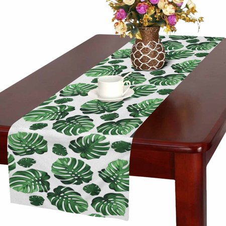 MKHERT Green Tropical Palm Monstera Leaves Hawaiian Jungle Beach Theme Table Runner Home Decor for Kitchen Dining Wedding Party 16x72 Inch