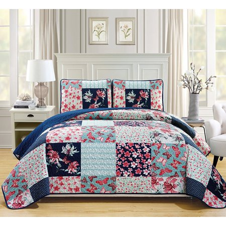 Fancy Linen 3pc Bedspread Coverlet Quilted Flower Butterfly Off White Navy Blue Teal Green Red Over Size New #Stella King/California King ()