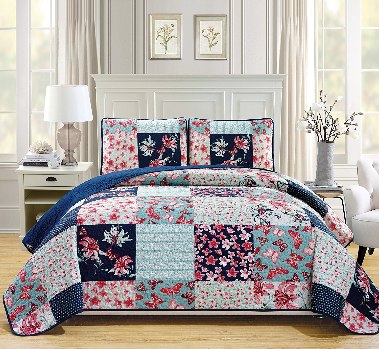 Fancy Linen 3pc Bedspread Coverlet Quilted Flower Butterfly Off White Navy Blue Teal Green Red Over Size New #Stella King/California King
