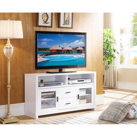Smart Home 47 in. Entertainment TV Stand with 2 Glass Doors Home Entertainment Tv Stand