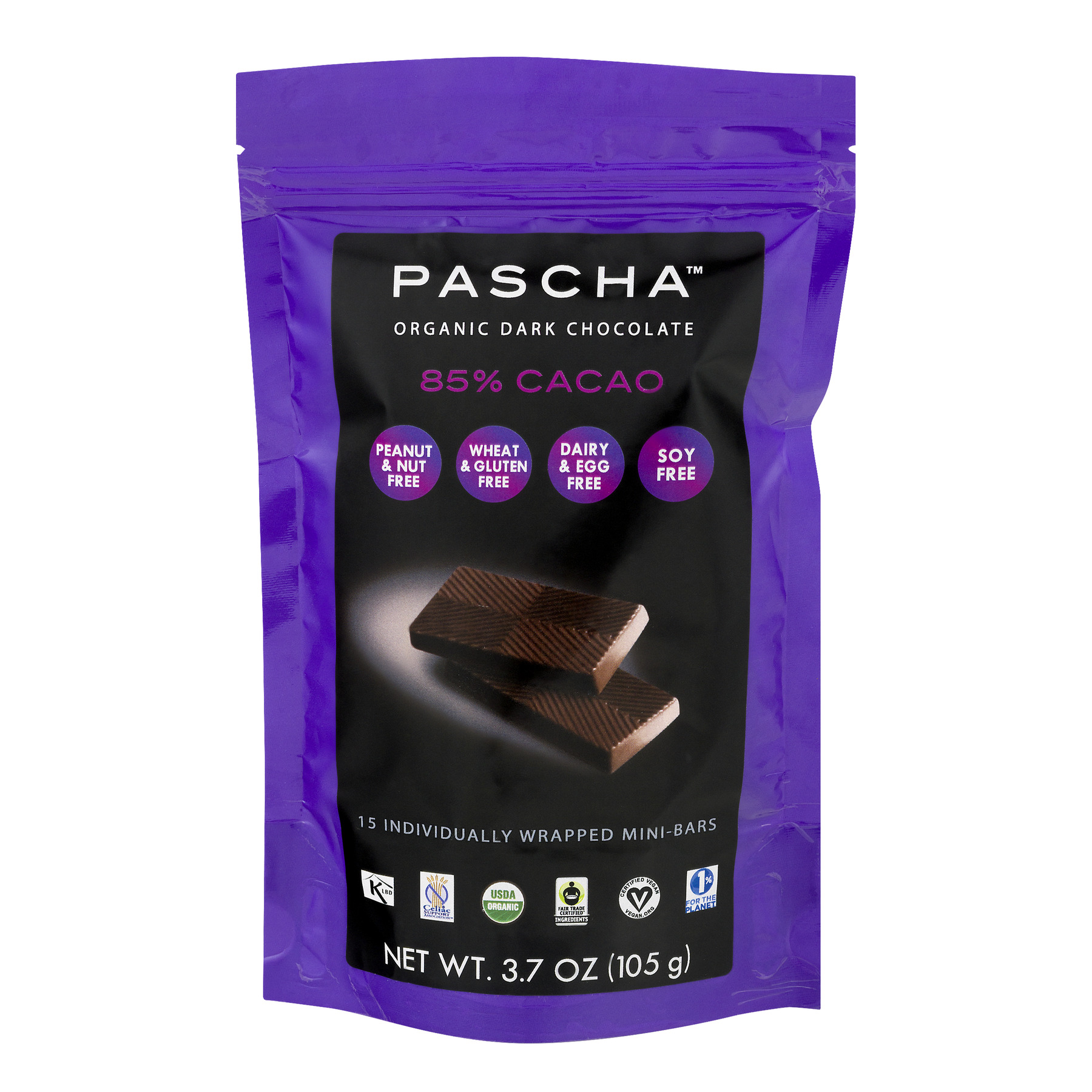 Pascha Organic Dark Chocolate 85% Cacao - 15 CT3.7 OZ