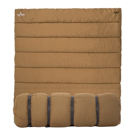 TETON Sports Evergreen +40F/+20F Double-Wide Sleeping Bag (Brown) (Sleeping Bag Degree)