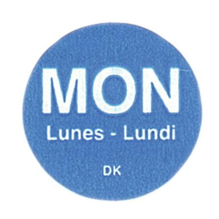 Daymark Monday Labels Blue Tri-Lingual Rotation Colored Dot - 3/4 Dia 2000 Per Box