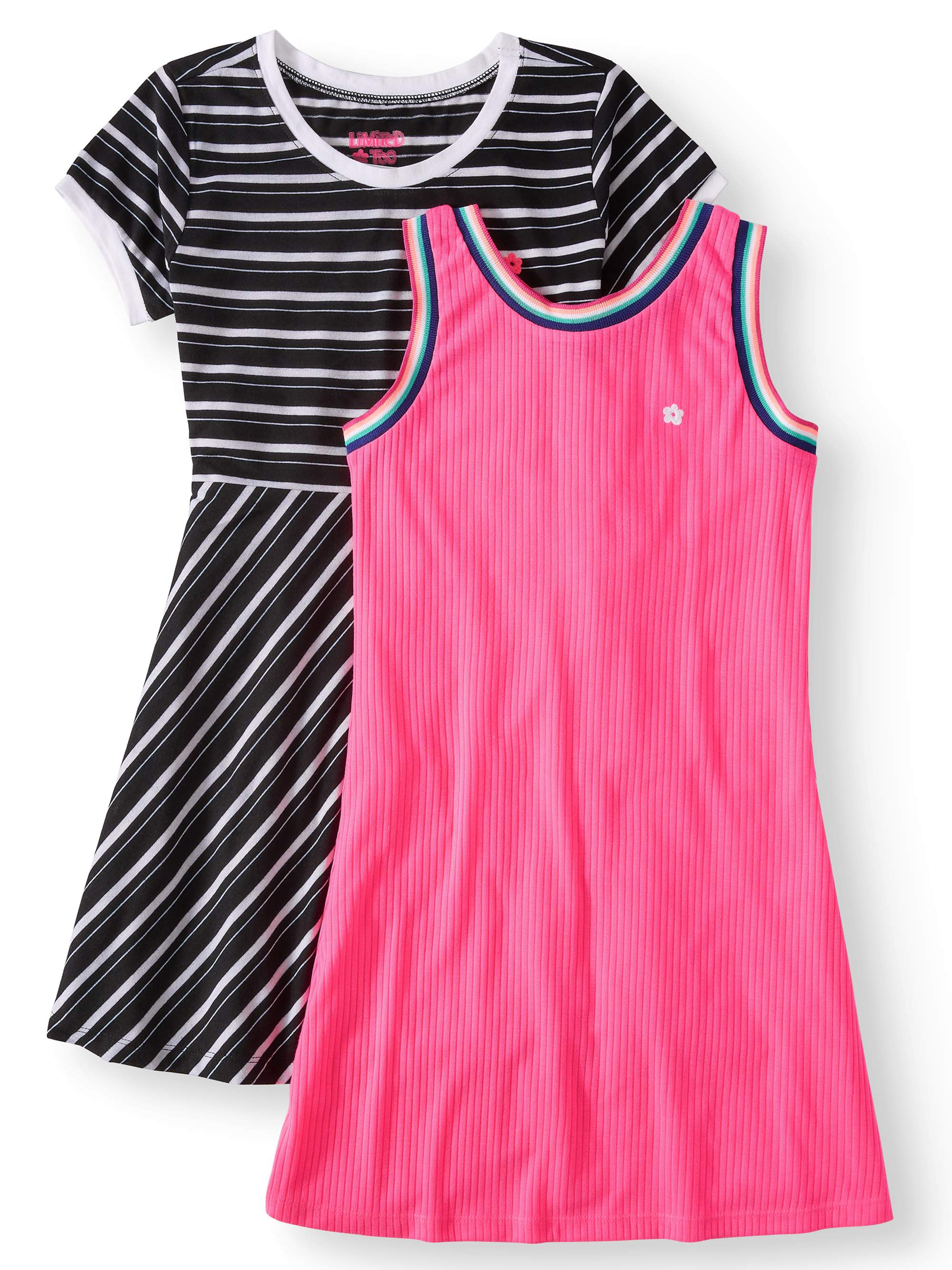 Big Girls' Striped Tee and Ribbed Tank Dresses (2-Pack)