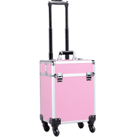 Yaheetech Aluminum Portable Cosmetic Beauty Hairdressing Makeup Box Case Storage Trolley Pink