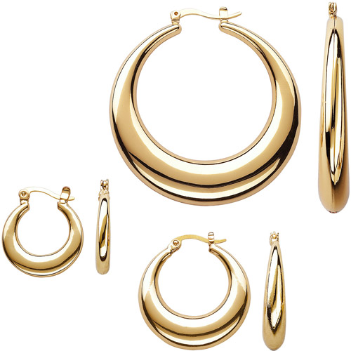 Gold-Tone Tapered Hoop Earring Set, 3 pairs
