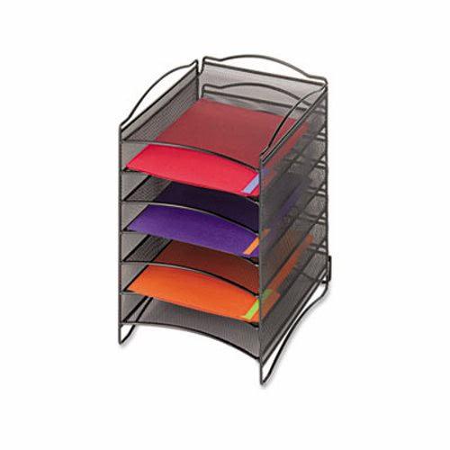 Safco Onyx Steel Mesh Lliterature Sorter, Six Compartments, Black (SAF9431BL)