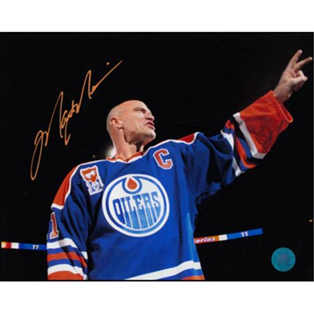 AJ Sports World MESM124030 MARK MESSIER Night SIGNED 16x20 Edmonton Oilers Photo by