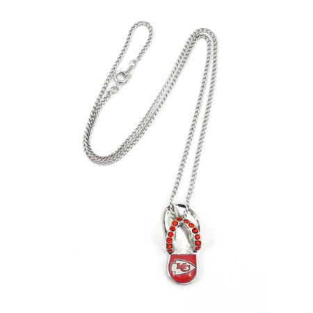 - NFL Football Team Logo Womens Ladies Crystal Flip Flop Necklace Pick Your Team