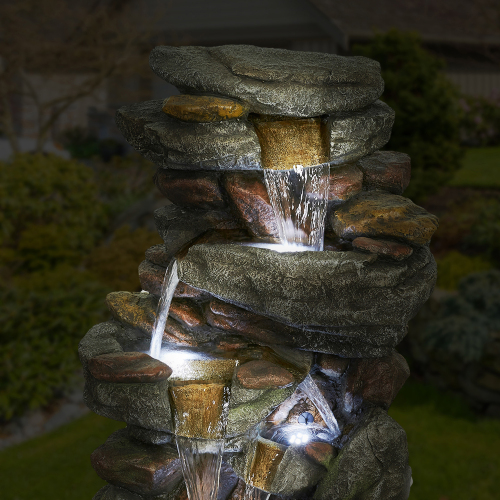 5-Tier 40.15 Outdoor Water Fall Fountain with White LED Light for Patio Yard Garden Lawn Soothing and Relaxation Waterfall Fountain for Home