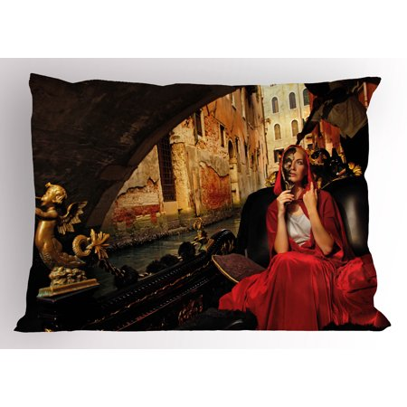Venice Pillow Sham Young Woman with a Red Cloak and Carnival Mask Riding on Antique Gondola, Decorative Standard King Size Printed Pillowcase, 36 X 20 Inches, Red Black Pale Brown, by Ambesonne