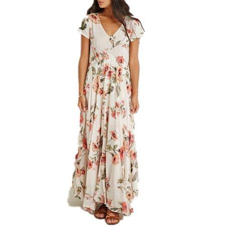 Plunging Neckline Dress (Womens Floral Plunging Short Sleeve Evening Maxi Dress )