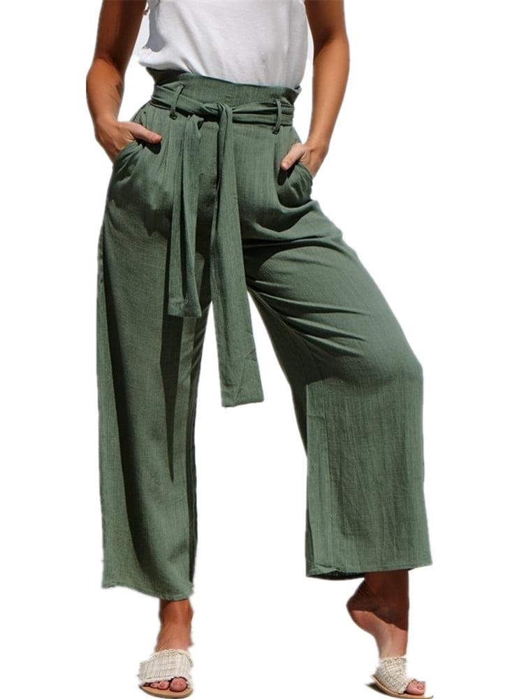 Dellytop Womens Loose Palazzo Trousers Wide Leg Pants Plus Size