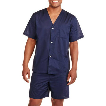 Fruit of the Loom Men's Short Sleeve Knee-Length Pant Solid Pajama Set (Signature Series Pajamas)