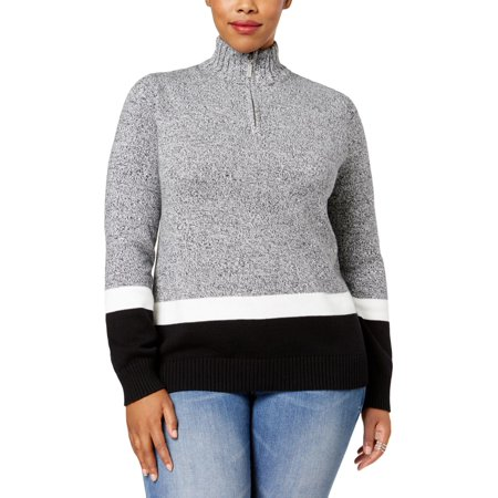 Karen Scott Womens Plus Knit Colorblock Mock Turtleneck Sweater