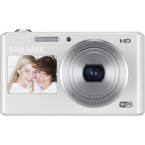 Samsung White DV150F Dual-View Digital SMART Camera with 16.2 Megapixels and 5x Optical Zoom