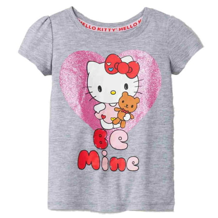 Infant & Toddler Girls Gray Hello Kitty Be Mine Valentines Day Cat T-Shirt