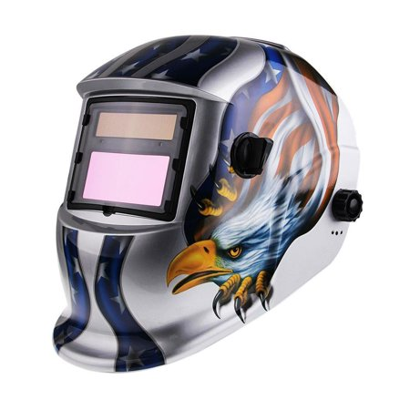 Ktaxon Auto-Darkening Pro Solar Mask Grinding Welder Welding Helmets Eagle Star Type,Silver &