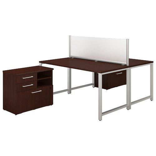 Bush Business Furniture 400 Series 2 Person Workstation 5 Piece Desk Office Suite