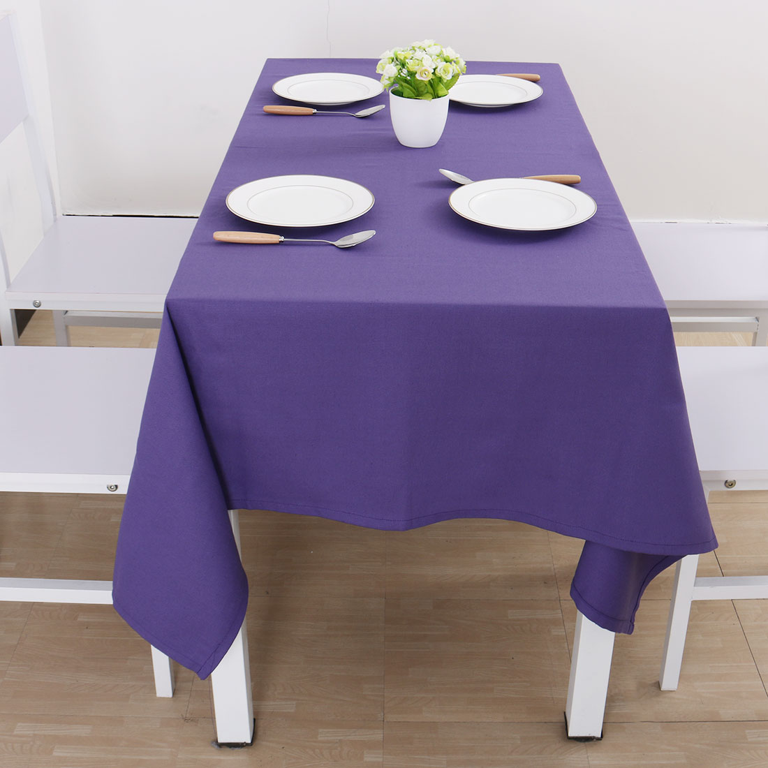 """Vintage Rectangle Cotton Linen Tablecloth Purple 55""""x71"""" Water Stain Resistant - image 6 of 7"""