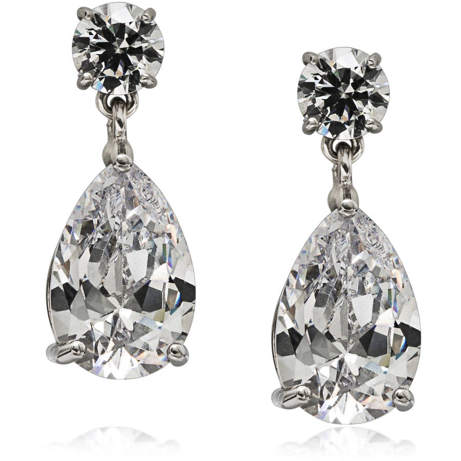 IN LOVE BY BRIDES Platinum-Plated Pear-Shape Cubic Zirconia Earrings