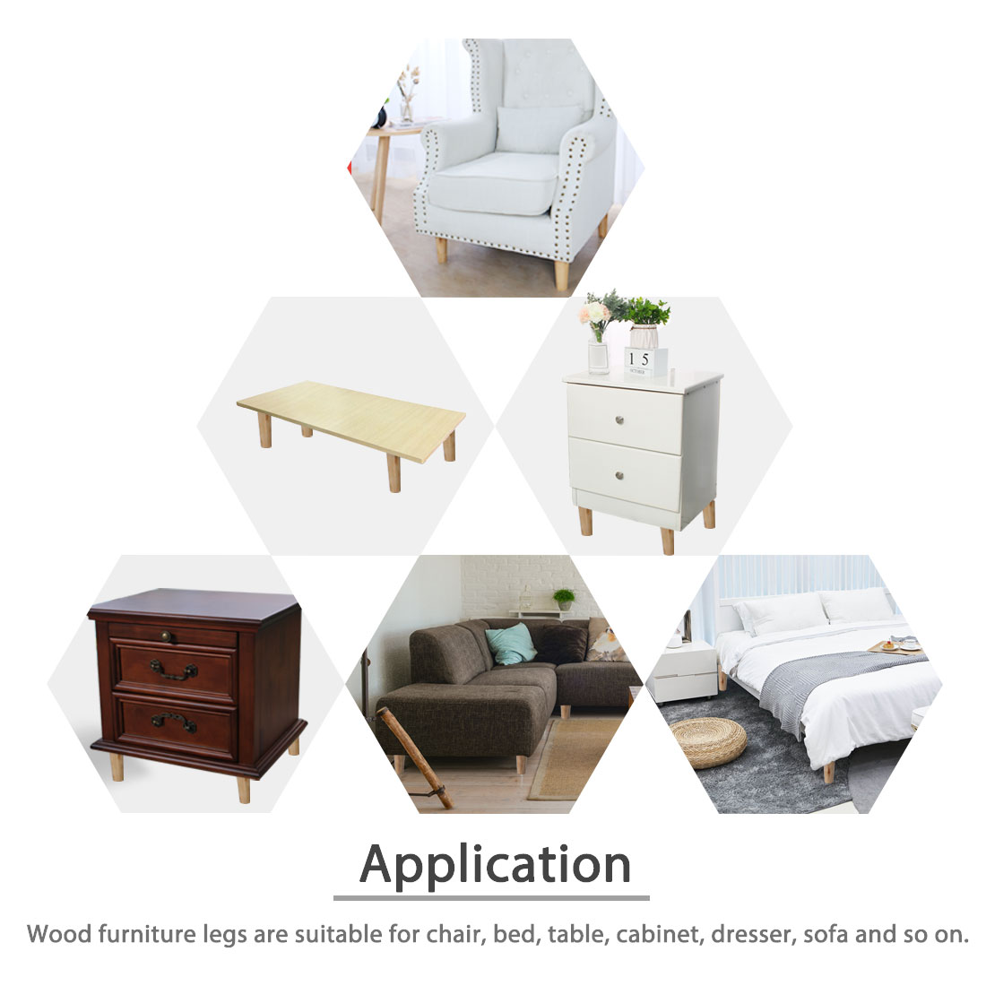 5 Inch Wood Furniture Leg Chair Sofa Table Oblique Feet Replacement, Wood Color - image 3 de 7