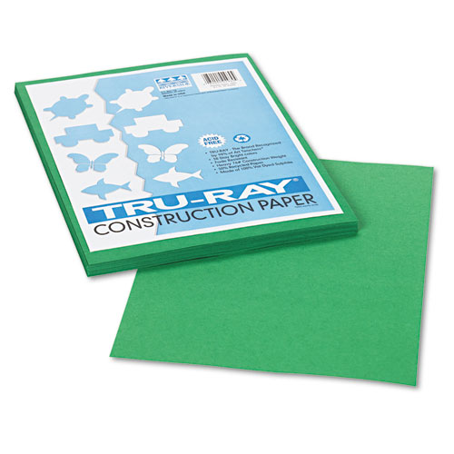 "Construction Paper, 76 lb.,9""x12"", 50/PK, Holiday Green PAC102960"