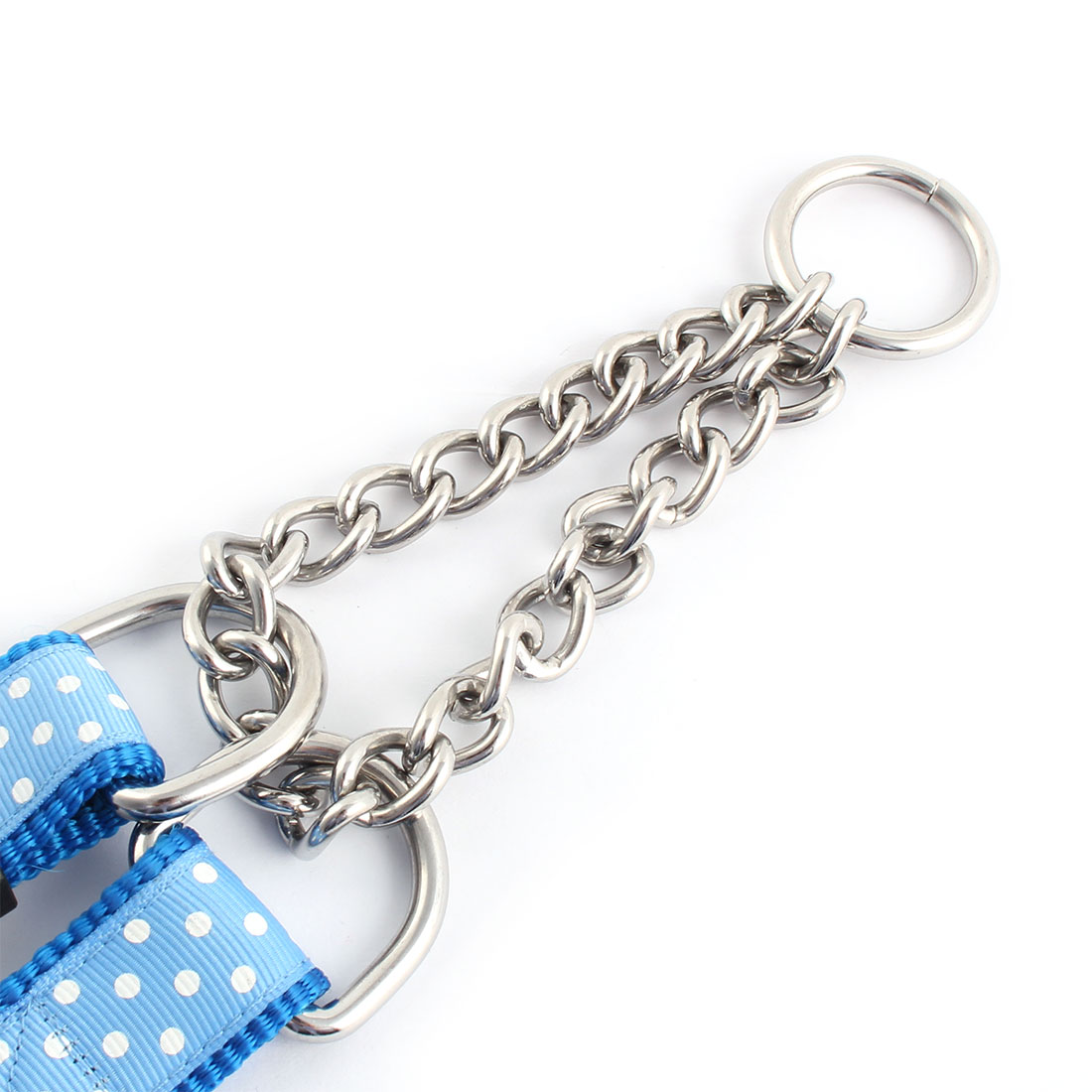 Pet Outdoor Polka Dot Print Adjustable Traction Rope Dog Neck Chain Leash Blue - image 1 de 2