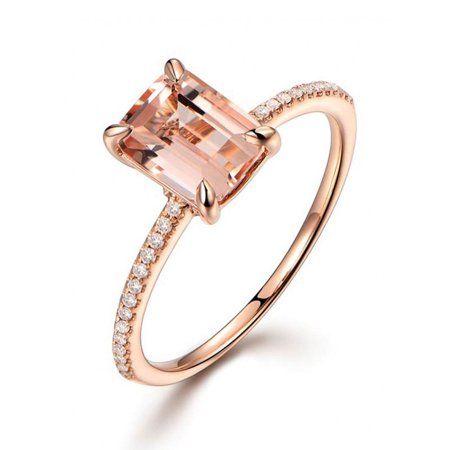 1.25 Carat Peach Pink Morganite (emerald cut Morganite) and Diamond Engagement Ring in 10k Rose Gold ()