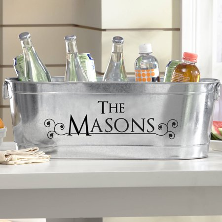 Personalized Galvanized Tailored Style Tub-Available in 8 Font Colors](Galvanized Bucket)