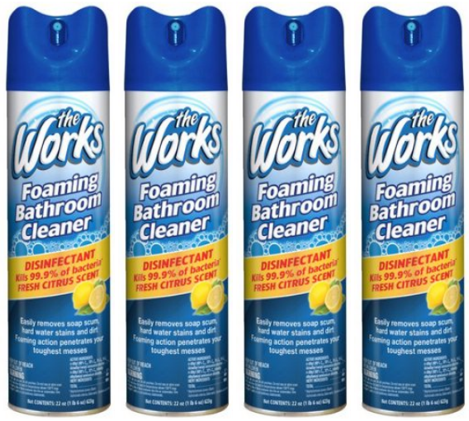 The Works Disinfectant Citrus Foaming Bathroom Cleaner, 22 Oz, 4 Pack