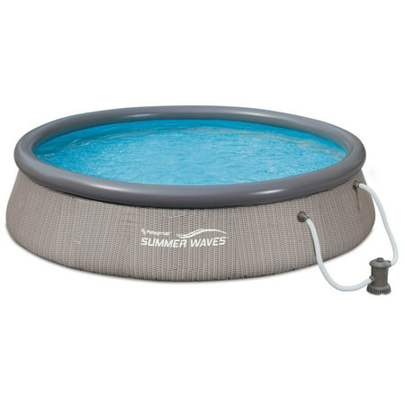 Summer Waves 12ft x 36in Quick Set Ring Above Ground Pool with Pump, Gray Wicker
