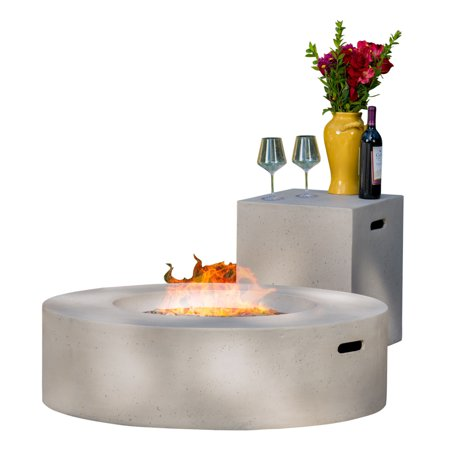 Hayes Circular 50K BTU Outdoor Gas Fire Pit Table with Tank Holder, Light Grey