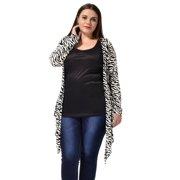 Women's Plus Size Zebra Prints Casual Drape Cardigan Black (Size 3X)