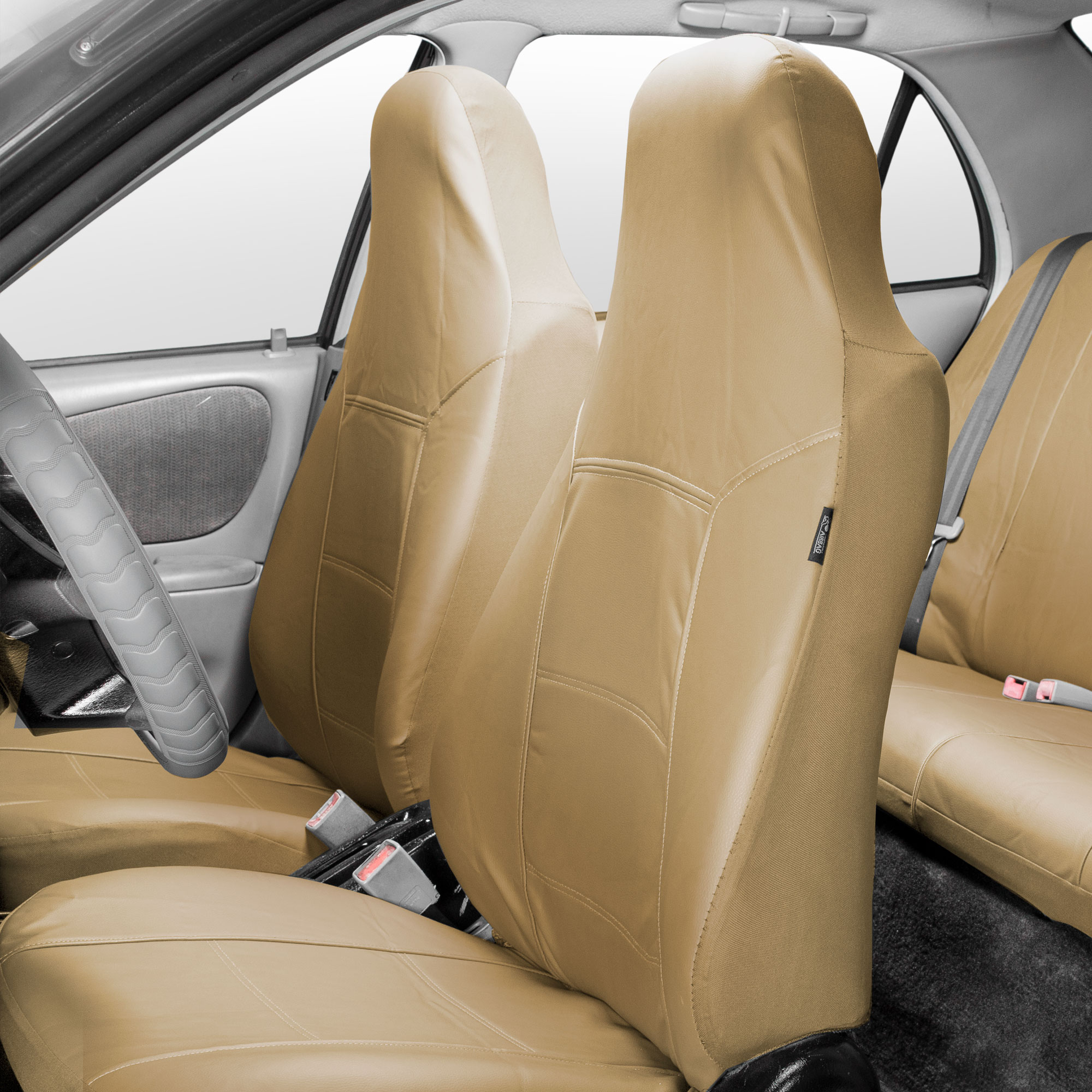 FH Group Highback Seat Royal Leather Seat Covers for Sedan, SUV, Van, Truck, Two Highback Buckets, Beige