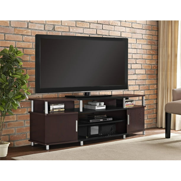 Carson Xl Black And Cherry Tv Stand For Tvs Up To 70 Walmart Com Walmart Com
