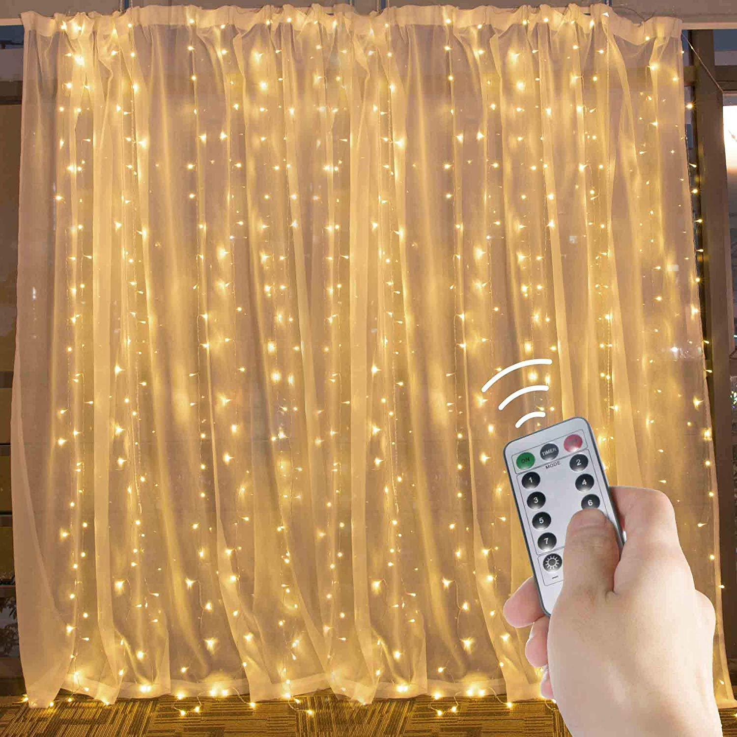 Warm White Brightown 10 Ft Window Curtain Icicle String Lights with Remote /& Timer 300 LED Fairy Twinkle Lights with 8 Modes Fits for Bedroom Wedding Party Backdrop Outdoor Indoor Wall Decoration