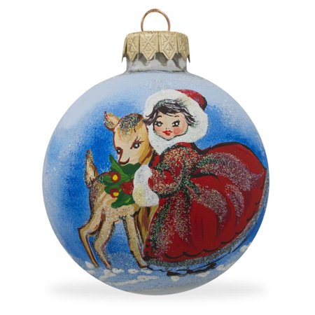 - Girl with Reindeer Glass Ball Christmas Ornament 3.25 Inches
