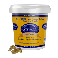Stewart Pro-Treat Freeze Dried Chicken Liver Dog Treats, 3 oz. Tub