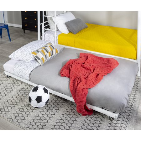 Walker Edison Twin Roll-Out Metal Trundle Bed Frame - White