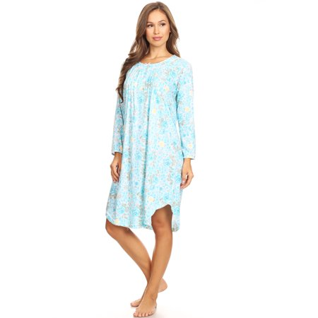 654 Womens Nightgown Sleepwear Pajamas Woman Long Sleeve Sleep Dress Nightshirt Green XXL (Long Ladies Gowns)