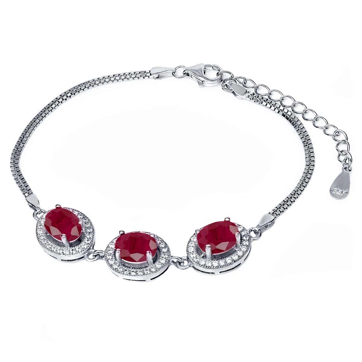 7.16 Ct Oval Red Ruby 925 Sterling Silver Bracelet by