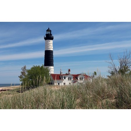 LAMINATED POSTER Waterfront Summer Water Michigan Lighthouse Beach Poster  Print 11 x 17