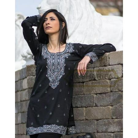 Beautiful Women Tops, Indian Kurti Tunic, Kurta Sale :  RANA | BLACK | Garment Bust Size (Toms Women Black)