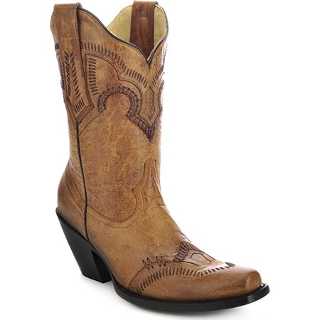 CORRAL Women's Short Cowgirl Boot Square Toe Tan 10 M US