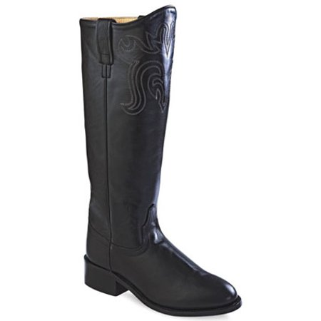 Old West Black Womens All Leather 14in Tall Roper Toe Cowboy Boots 5 (Famous Black Cowboys Of The Old West)