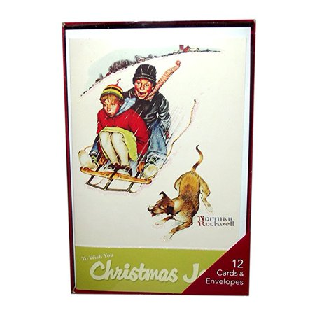 American Greetings Norman Rockwell Children on Sled Holiday Boxed Cards-Set of - Sled Holiday Card