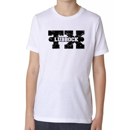 Lubbock, Texas TX Classic City State Sign Boy's Cotton Youth T-Shirt (Party City Lubbock Texas)