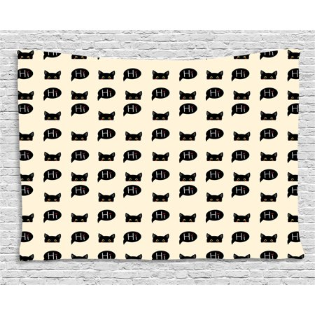 - Cat Tapestry, Young Black Kitties Sneaking on and Saying Hi Lovely and Playful Domestic Pets, Wall Hanging for Bedroom Living Room Dorm Decor, 80W X 60L Inches, Ivory Black Ruby, by Ambesonne